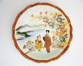 Hand Painted Occupied Japan Saucer - Japanese People in Kimonos - Flowers - Item 1804-1