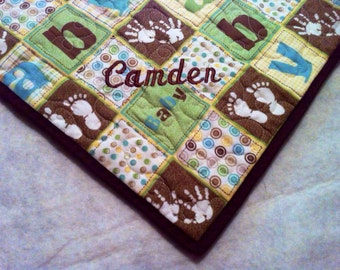 Embroidered Personalized Baby Boy Quilt -- Made-to-Order