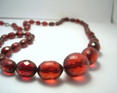 Cherry Amber Bakelite Necklace,Red Bakelite Necklace,Faceted Cherry Amber Bakelite,Bakelite Bead Necklace,Red Necklace,Bakelite,Vintage