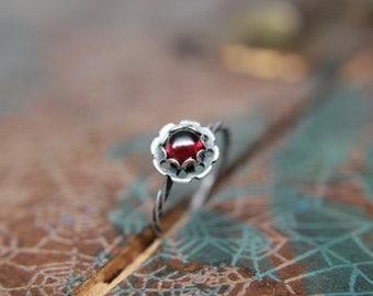 Delicate Sterling Silver Floral Gemstone Ring. Pretty sterling silver flower stacking ring with a gemstone center. Springtime bouquet ring.