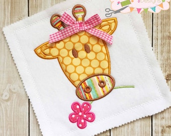 Giraffe Flower NS Applique Design Machine Embroidery Design INSTANT DOWNLOAD