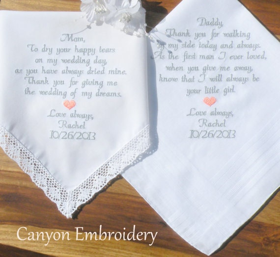 Wedding Gift Ideas Embroidered : Embroidered Wedding Handkerchiefs, Mom and Dad, Wedding Gift Wedding ...