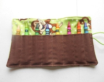 Monkey laughing crayon roll up 8 count limegreen white dots brown