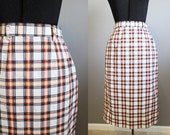 1960s Pencil Skirt Vintage Plaid Ivory High Waist XS Small