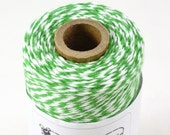 BOLD Bakers Twine 240 yard spool PEAPOD GREEN & White Twine String for crafting, gift wrapping, packaging, invitations