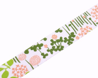 Classiky Japanese Washi tape - Pink & Green Garden Flowers with Field Grass washi masking tape
