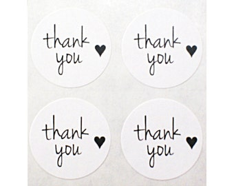 63 THANK YOU & mini HEART white labels - 1 inch round white stickers - envelope seals, gift wrapping, packaging