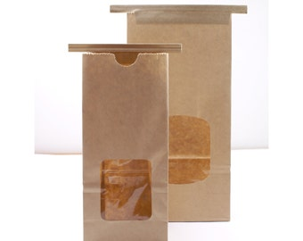 Kraft brown tin-tie bags with window -  food-safe 1/2lb or 1lb coffee bags - Packaging, Food & Candy, Baked Goods, Cookies