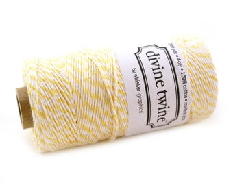 Bakers Twine 240 yard spool - LEMON YELLOW & White Bakers Twine String for crafting, gift wrapping, packaging, invitations