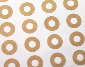 Brown Kraft Hole Reinforcement ring stickers for Hang Tags or Parcel Labels - gift wrapping, wedding, scrapbooking