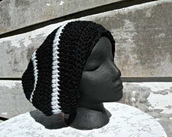 Slouch Hat, Rasta Hat, Black with Gray Stripes, Large Size Hat