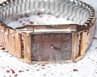 Vintage 14K Rose Gold Filled Men's Bulova Watch