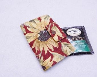 Rustic Sunflowers 2 Tea Wallet, Tea Bag Wallet Red, Gift Under 15