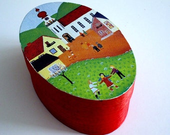Wooden Oval Box Red Gift Box Christmas Box Painted Box Winter Wedding Ring Box Ring Bearers Box Made In Munster Germany Christmas Red Box