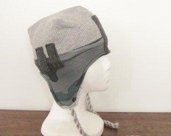 boys winter hat, boys green hat, boys gray hat, cute hat with ear flaps