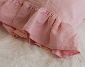 Linen Pillow Case Sham with a 4 Inch Ruffle available in many colors