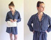 80s dress - striped day dress - 80s blue and white secretary dress - medium