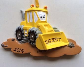 Personalized Boy Christmas Ornament Construction Truck , Bull Dozer- Birthday Gift/ Gift Tag