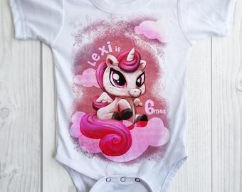 UNICORN Birthday Girl shirt -personalized unicorn party bodysuit - pick any age