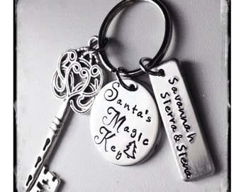 Personalized Hand Stamped Santa's magic Key