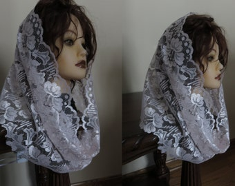 SALE   Light Pink Lace Snood Veil  - Neck Scarf - Floral - Scalloped -  NEW