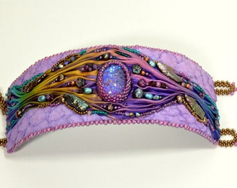 Purple and Bronze Cuff Bracelet Colorful Silk Ribbon Fish Leather Bead Embroidered