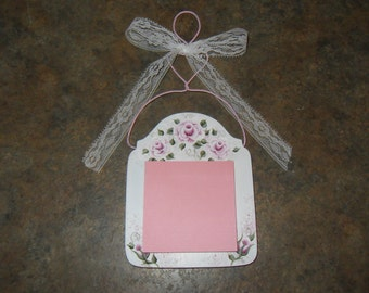 Shabby Cottage Chic Hand Painted Victorian Pink Rose Wood Post it Note Holder  ECS, CSSTEAM