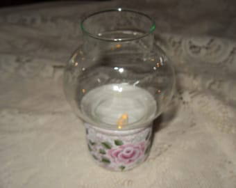 Hand Painted Pink Rose 2 piece  Hurricane Votive Tea Light Candle Holder