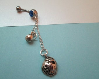 baseball  belly button ring, body jewelry