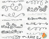 Swirl Border Clip Art + PS Brush, Curly Decorative Text Divider, Elegant Flourish Ornamentation Borders, DIY Invitations & Cards