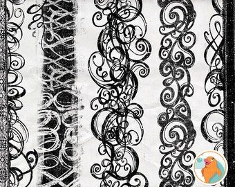 Border Flourish Clip Art, Swirl PNG ClipArt + Photoshop Brush,  Distressed Edge, Digital Graphics, Page Border ClipArt, Gothic Design