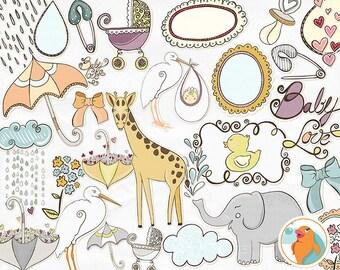 Baby Shower Clip Art, Baby Girl Digital Illustration Download, Rubber Duck, Stork, Zoo Animal ClipArt, Giraffe, Elephant, DIY Card