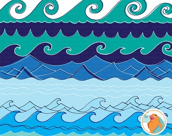 Wave Border Clip Art, Water Border Image, Water ClipArt, PNG + PS Brush, Instant Download, Card Making & Invitation Design, Wave Clip Art