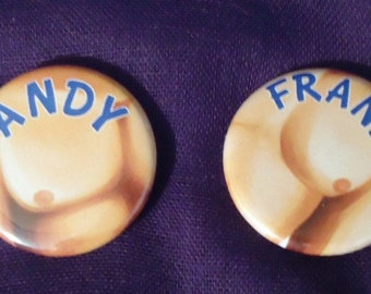 Yowapeda buttons: Andy and Frank
