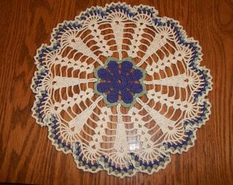 Spring Violet Doily Crocheted Handmade