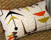 "Mad Men MCM Pillow Cover -- Atomic Mobiles - Orange, Brown, Gold - Vintage Barkcloth - Shown with 12"" x 18"" insert - Lumbar Sizes"