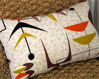 """Square 17 x 17 - Mad Men MCM Pillow Cover - READY To SHIP - Mobiles - Orange, Brown, Gold - Vintage Barkcloth - 17"""" x 17"""" for 18"""" insert"""