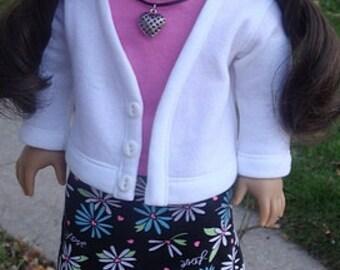 Daisy Print Maxi Skirt, T-Shirt And Cardigan For American Girl Or Similar 18-inch Dolls