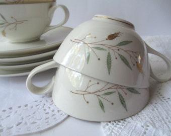 Vintage Teacups and Saucers Syracuse China Elegance Set of Four