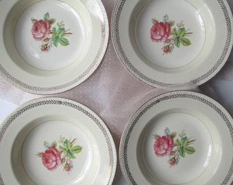 Vintage Homer Laughlin Pink Rose Soup Bowls Set of Four