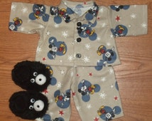 "NEW For Cabbage Patch Boys 16"" Doll Clothes Mickey Mouse Pajamas With Teddy Bear Slippers"