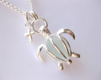 SS Sea Turtle  sea glass Necklace SS sea glass turtle Sterling turtle locket sea glass jewelry
