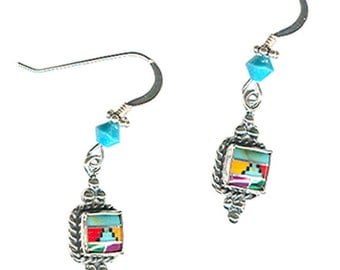 Zuni-style gemstone inlaid square sterling silver Southwest earrings