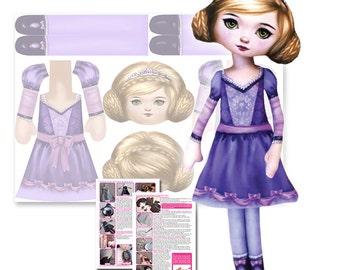Princess Doll Sewing Pattern - Printed Fabric Soft Toy Cut and Sew Kit - DIY Darling Ella