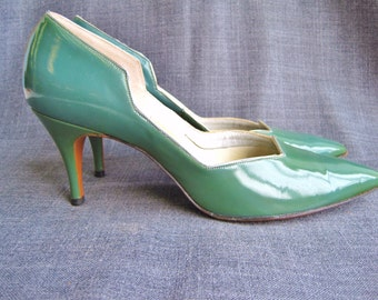 1950s Aqua and Silver Patent Tweedies Heels Size 7 1/2 N