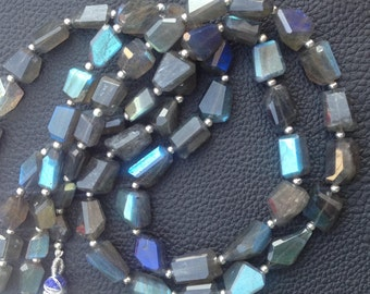 9-10mm,Brand New, Amazing Blue Flashy LABRADORITE Faceted Nuggets,Full 8 Inch Strand,Amazing Rare Item