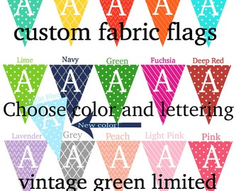 Personalized Fabric Pennant Flags, Custom Color Name Banner, Photo Prop, Nursery Custom Letters, Baby Shower Name Banner, Birthday Banner