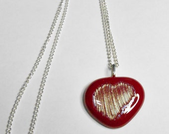 Fused Glass Red Heart Pendant With Silver Plated Bail and Ball Chain