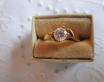 Vintage Avon Gold Tone Ring with Solitaire Faceted Clear Rhinestone