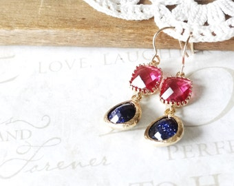 GALAXY ink blue and magenta crystal drop chandelier earrings (gold)